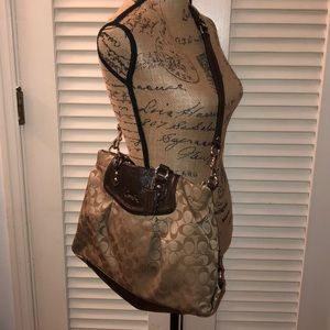 Coach tan satin and brown patent leather purse